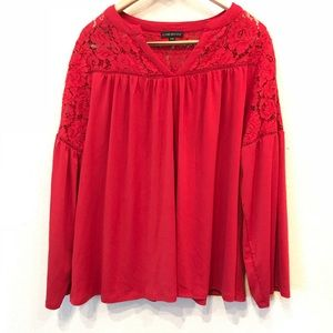 Lane Bryant GUC Red Lace Top Bell Sleeve Sz 18/20